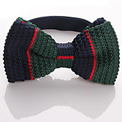 Men's Fashion Green Mix Navy Blue Knit Bow-tie