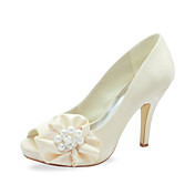 Raso tacco a spillo peep toe con perla d'imitazione / Fiore scarpe da sposa (pi colori)