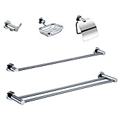 Chrome Finish Bathroom Accessory Sets (Include Robe Hooks,Soap Holders,Toilet Roll Holders,2 Towel Bars - Brass)