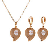 Beautiful Cubic Zirconia 14K Gold Plated Wedding Jewelry Set Including Necklace And Earrings