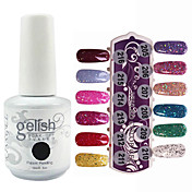 Lentejuelas 1PCS UV Gel Color Nail Polish No.205-216 Soak-off (colores surtidos, 15 ml)