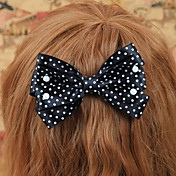 Handmade Black and White Polka Dots Satin Bow Classic Lolita Headpiece