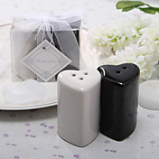 Ceramic Double Hearts Salt & Pepper Shakers Wedding Favor (Set of 2)