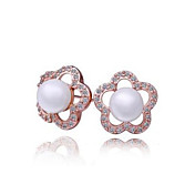 Rose Gold / Platinum Flower Cut placcato orecchini di perle (pi colori)