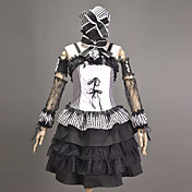 Sleeveless Knee-length Black Stripe Cotton Punk Lolita Outfit with Ribbons