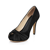 Leather Stiletto Heel Peep Toe With Ruched Party / Evening Shoes