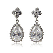 Lovely Platinum Plated Cubic Zirconia Earrings