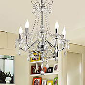 200W Luxury Crystal Modern Chandelier with 5 Lights in Candle Feature
