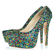 Leather And Multi-color Rhinestones Stiletto Heel Closed Toe Pumps Party / Evening Shoes