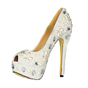 Patent Leather And Pearl Stiletto Heel Peep Toe Pumps Party / Evening Shoes