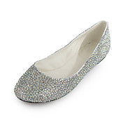 Elegant Patent Leather Flat Heel Closed-toe With Rhinestone Party / Casual Shoes