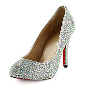 Fashion Leather Stiletto hæl Round Toe med fargerike Rhinestone Pumps fest / kveld sko