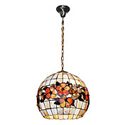 80W Vintage Pendant Light Tiffany com colorido Shell Material Sombra Globo integrada
