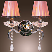 80W Modern Wall Light with Chandelier Feature Arm and 2 Pleated Fabric Shades