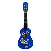 Flower Pattern Plywood Ukulele Soprano de Kid (azul)
