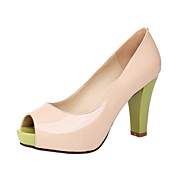 Compact Leather Chunky Heel  Peep Toe Pumps Party/Evening Shoes