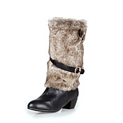 Stylish Leatherette Low Heel Mid-Calf Boots With Buckle And Fur Casual Shoes(More Colors)