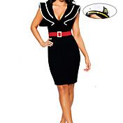 Figure Flattering Black Polyester Dress Naval Uniform (3 Pieces)