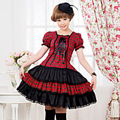 Short Sleeve Knee-length Red and Black Check Pattern Cotton Punk Lolita Dress