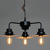 180W Classic Chandelier with 3 Lights Lid Shade in Loft Style