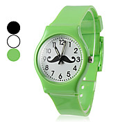 Unisex Beard Pattern Silicone Analog Quartz Wrist Watch (Assorted Colors)