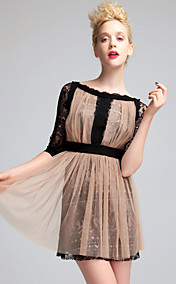 TS Gathered Perspective Layered Lace Dress