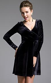 TS Deep-V Velvet Ruffle Dress