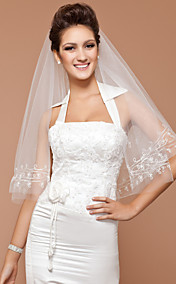 Elbow One-tier Wedding Veil With Cut Edge