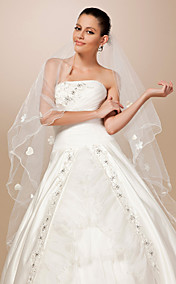 One-tier Tulle Pencil Edge Waltz Wedding Veil With Satin Flower
