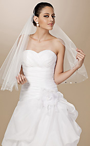 One-tier Tulle Cut Edge Elbow Wedding Veil With Sequin