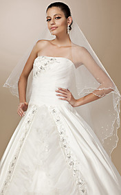 One-tier Tulle Pearl Trim Edge Waltz Length Wedding Veil With Pearls