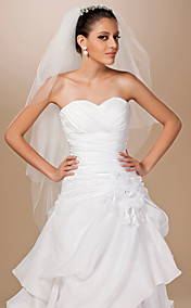 Three-tier Tulle Cut Edge Fingertip Length Wedding Veil With Rhinestone