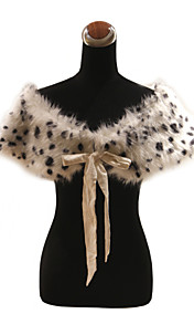 Elegant Faux Fur With Ribbons / Animal Print Party / Evening Shawl / Wrap