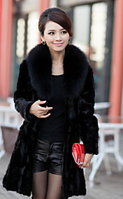 Elegante manga comprida pele Fox Collar Evening Fur Coat Mink