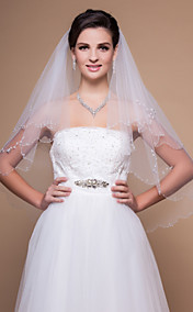 To-lags Elbow Wedding Veil Med Beaded Edge