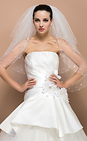Three-tier Fingertip Cut Edge Wedding Veil With Pearl
