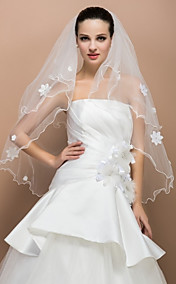 Two-tier Elbow Pencil Edge Wedding Veil With Satin Flower