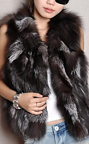 Elegante mangas Fur Fox Vest Noite / Carreira