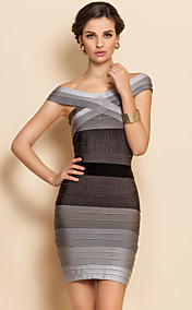 TS Boat Neck Gradient Sexy Bodycon Bandage Dress