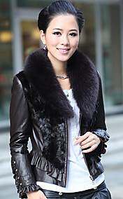 Manga comprida Fox Fur Xaile couro de Anho Collar com pele Mink Jacket Casual / Office (mais cores)