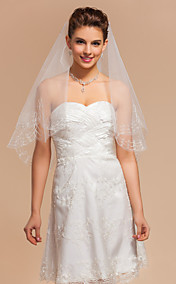 Simple One-tier Elbow Wedding Veils With Pencil Edge