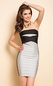 TS Strapless Contrast Color Bodycon Bandage Dress