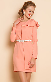 TS Ruffle Side Long Sleeve Sheath Dress With Belt