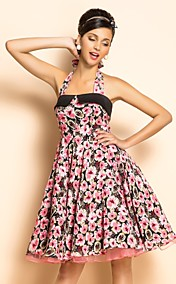 TS VINTAGE Rockabilly Girl Flora Print Swing Halter Dress