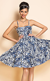 TS VINTAGE Rockabilly Girl Flora Print Strap Dress in Chinese Blue
