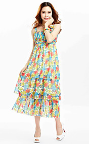 TS Chiffon Print Layered Strap Midi Dress