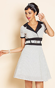 TS VINTAGE Contrast Collor Belted Dress