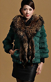3/4 Sleeve Raccoon Fur Shawl Rabbit Fur Casual/Party Jacket(More Colors)