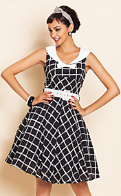 TS VINTAGE Check Pattern Bow Swing-Kleid