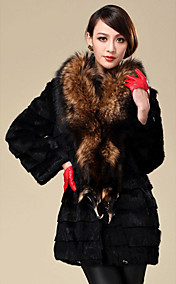 Long Sleeve Raccoon Fur Shawl Rabbit Fur Casual/Party Coat(More Colors)